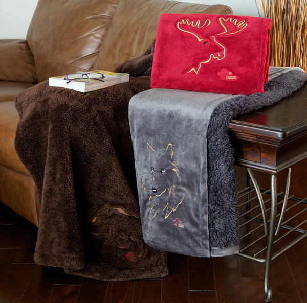 "Graham Howard© ""Moose"" Embroidered Alpaca Throw - Firebrick Red"