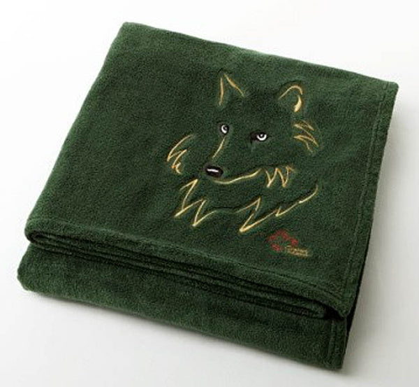 "Graham Howard© ""Wolf"" Velura™ Throw Blanket - Evergreen"