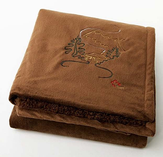 "Graham Howard© ""Cabin"" Embroidered Alpaca Throw - Chocolate"