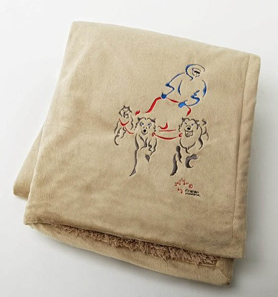 "Graham Howard© ""Dog Sled"" Embroidered Alpaca Throw Blanket - Ecru"