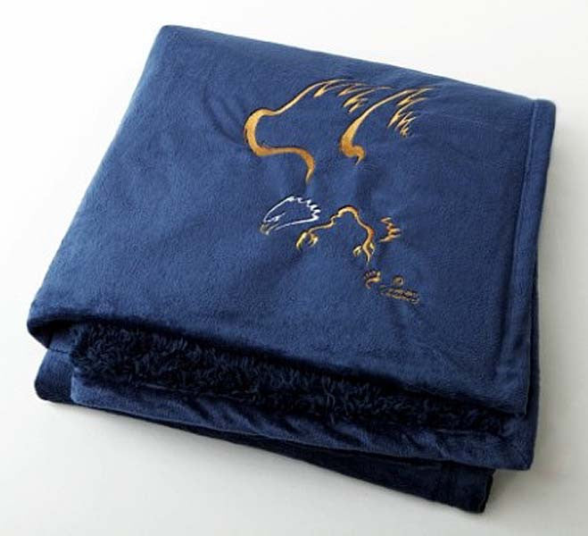 "Graham Howard© ""Eagle"" Embroidered Alpaca Throw - Royal Blue"