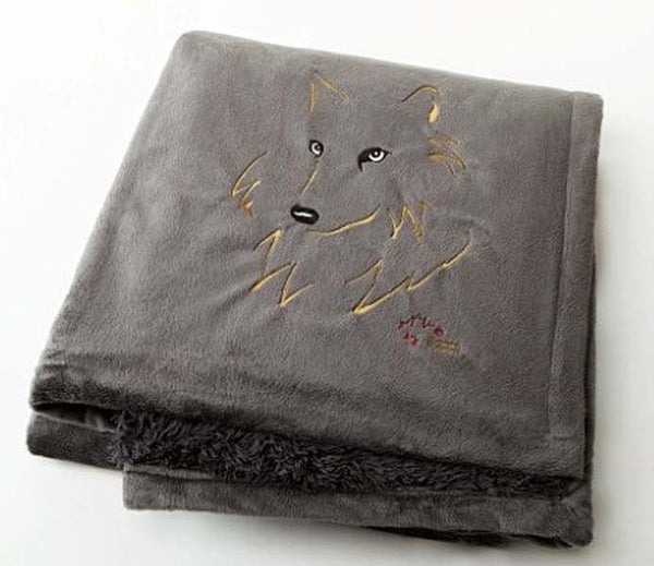 "Graham Howard© ""Wolf"" Embroidered Alpaca Throw - Charcoal Grey"