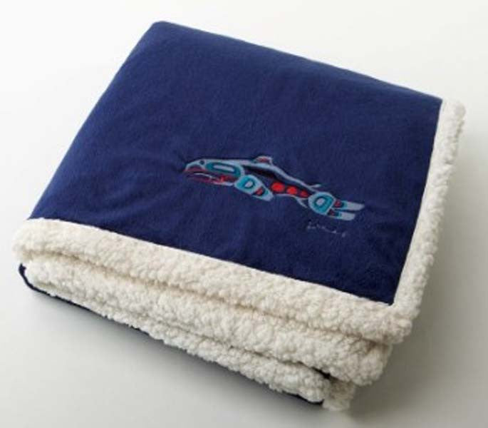 "Joe Mandur, Jr.© ""Salmon"" Embroidered Lambswool Throw - Navy"