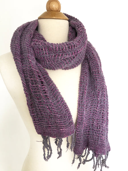Handwoven Open Weave Cotton Scarf - Eggplant