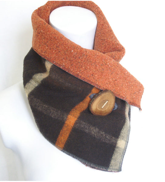 Fall Classic Plaid Upcycled Neckwarmer - One-of-a-Kind -   - 5