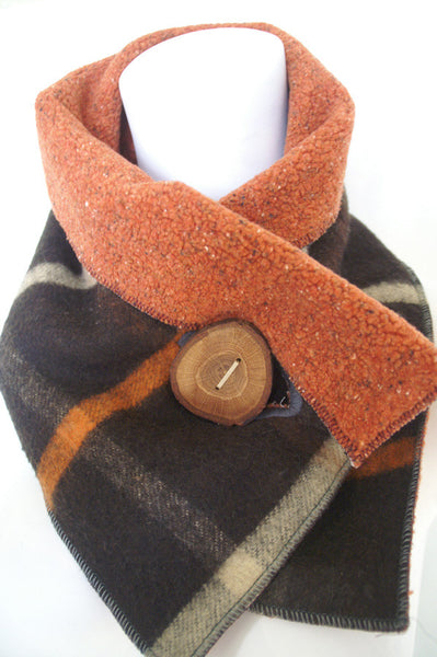Fall Classic Plaid Upcycled Neckwarmer - One-of-a-Kind -   - 1