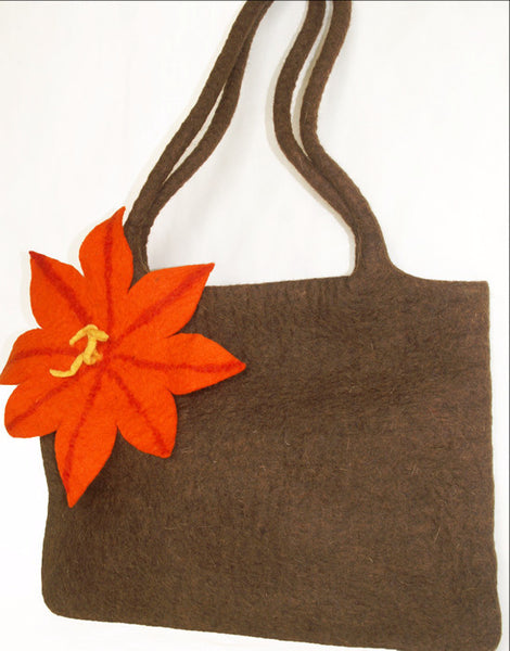 Nuno Felted Wool Shoulder Bag - Chocolate -   - 2