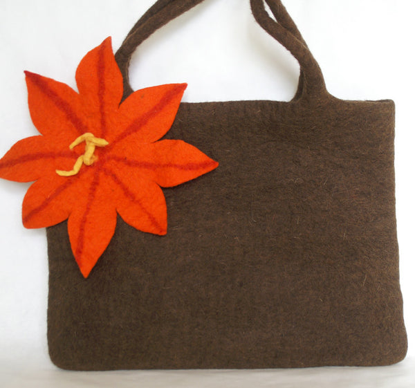 Nuno Felted Wool Shoulder Bag - Chocolate -   - 1