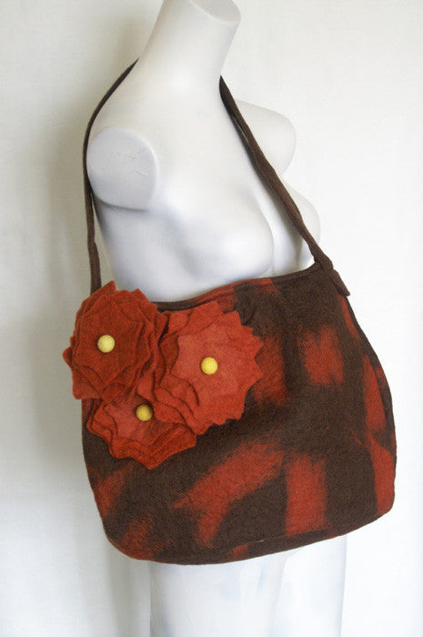 Nuno Felted Wool Flower Shoulder Bag - Chocolate & Spice -