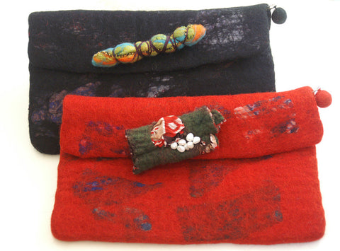 Nuno Felted Wool Silk Sari Collage Clutch Bags One-Of-A-Kind Handmade -