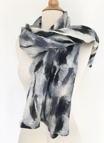 Abstract Paint III Nuno Felted Merino Wool-Sari Silk Scarf - One-of-a-Kind Wearable Art