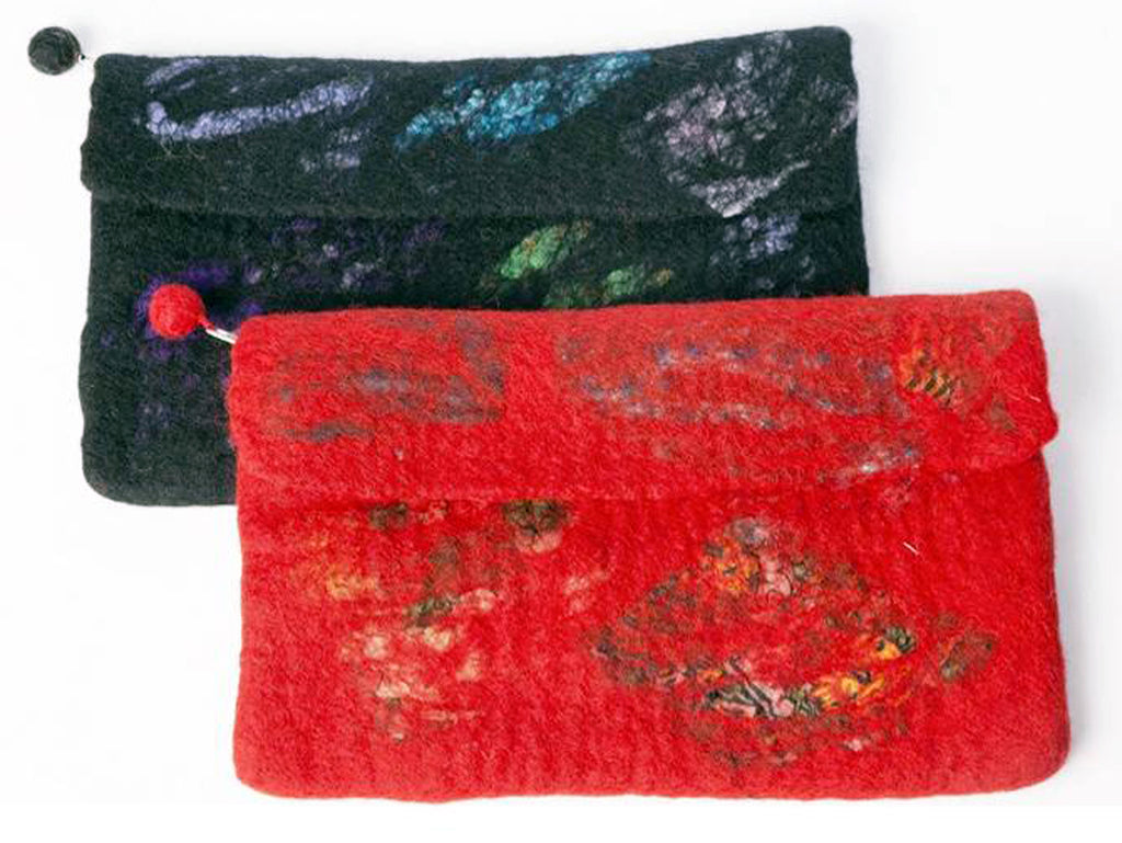 Nuno Felted Wool Silk Collage Clutch One-Of-A-Kind