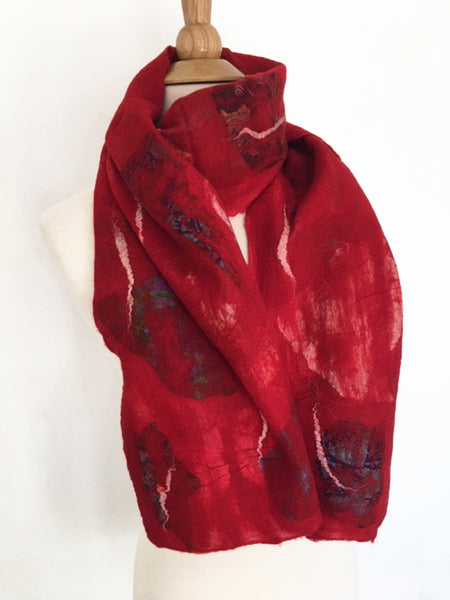 Red Nuno Felted Merino Wool-Sari Silk Scarf - One-of-a-Kind Wearable Art