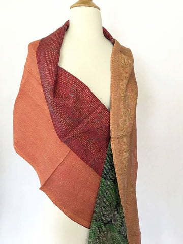Kantha Silk Reversible Stole-Scarf  - Red/Orange/Green