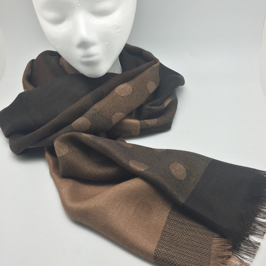 Handmade Alpaca & Silk Stole from Peru - Cafe Dots -   - 1
