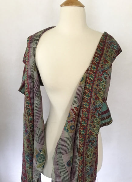 Kantha Silk Reversible Stole-Scarf - Teal/Brown