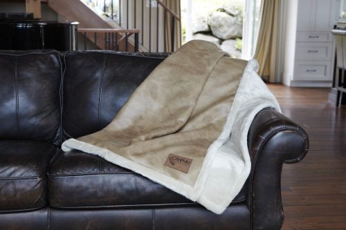 Buckskin Tan Faux Leather Throw Blanket w/Pearl Faux Fur|Decorating Option