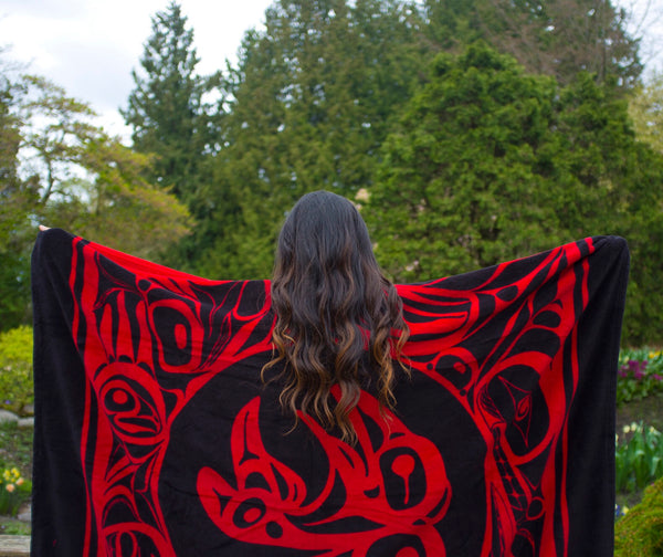 "Bill Helin© ""The Raven"" Velura Throw Blanket -Tsimshian"