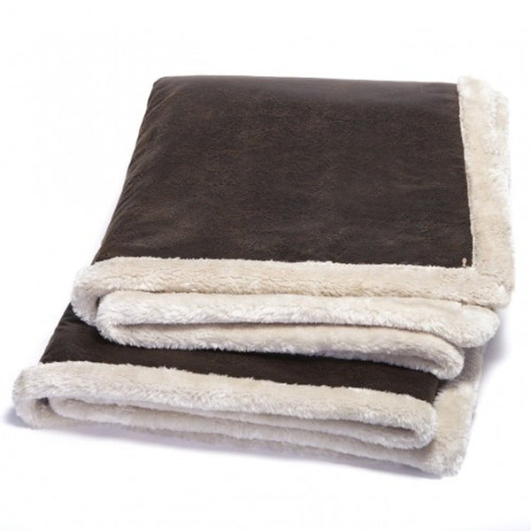 Vintage Faux Leather Throw Blanket w/Pearl Faux Fur -   - 1
