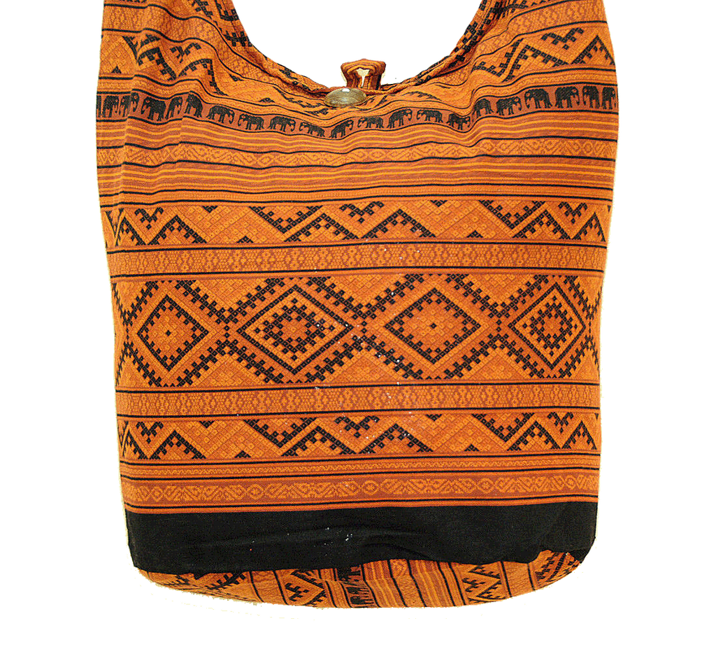 Thai Boho Sling Bag - Elephant Ethnic Brown -   - 2