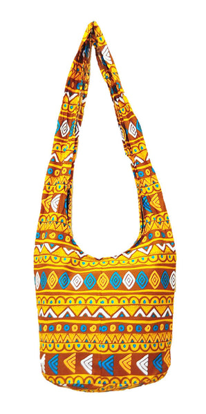 Thai Boho Sling Bag - Geometric Brown -   - 2