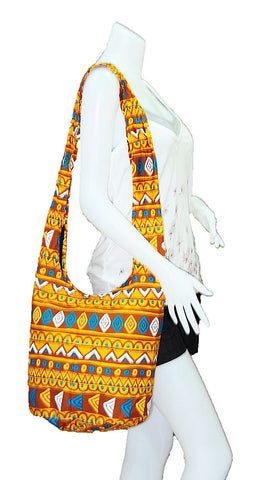 Thai Boho Sling Bag - Geometric Brown -   - 1