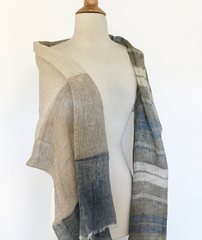 Linen Striped Stole - Navy/Gray-Taupe/Ivory