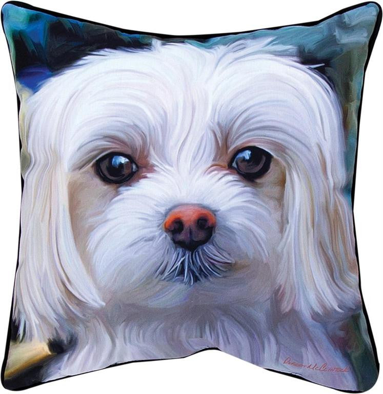 Little Lord Malty Maltese Pillow by Robert McClintock -