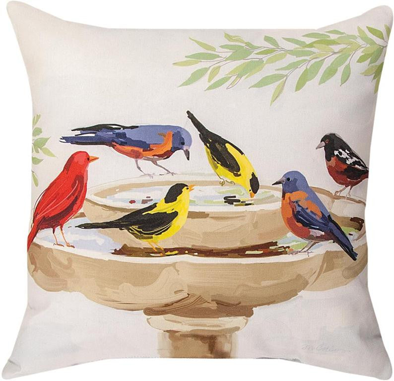 Bath Time Birds Indoor/Outdoor Pillow by Martha Collins© -