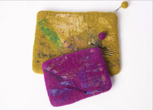 Nuno Felted Wool Sari Collage Accessory Purses One-Of-A-Kind Handmade -   - 2
