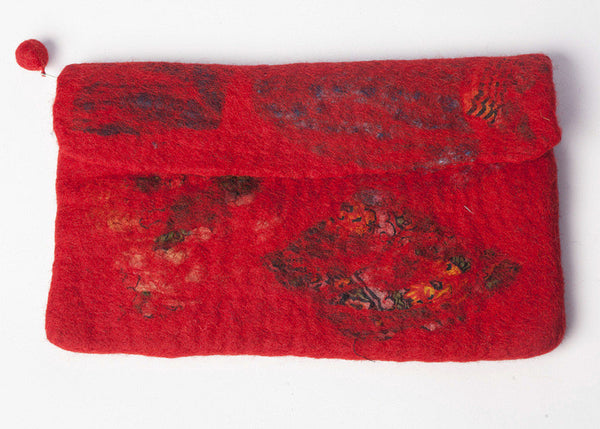 Nuno Felted Wool Sari Collage Clutch Bag One-Of-A-Kind Handmade -   - 3