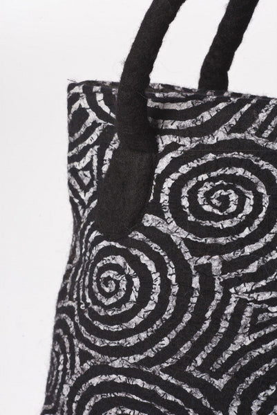 Felted Wool/Cotton Pop Art Shoulder Bag - Black Swirls One-of-a-Kind -   - 2