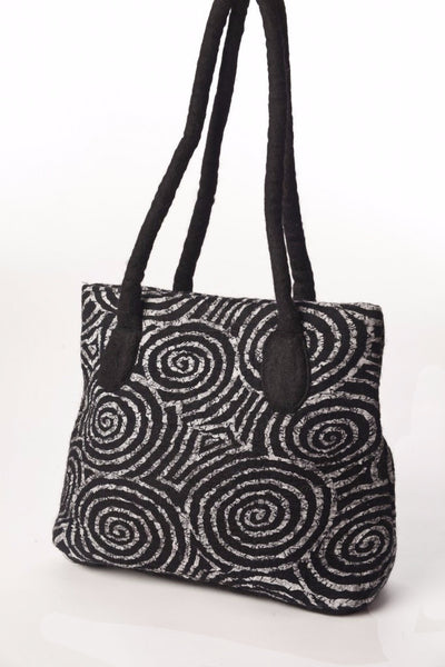 Felted Wool/Cotton Pop Art Shoulder Bag - Black Swirls One-of-a-Kind -   - 1