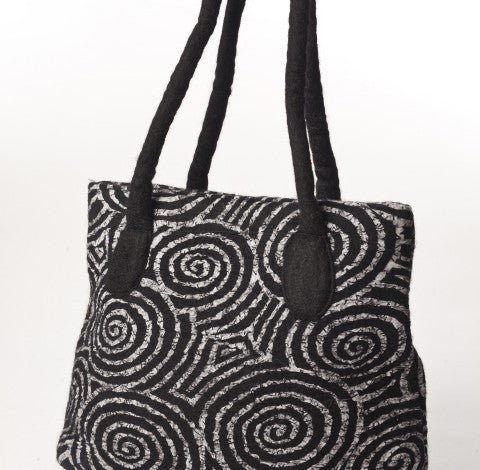 Felted Wool/Cotton Pop Art Shoulder Bag - Black Swirls One-of-a-Kind -   - 3