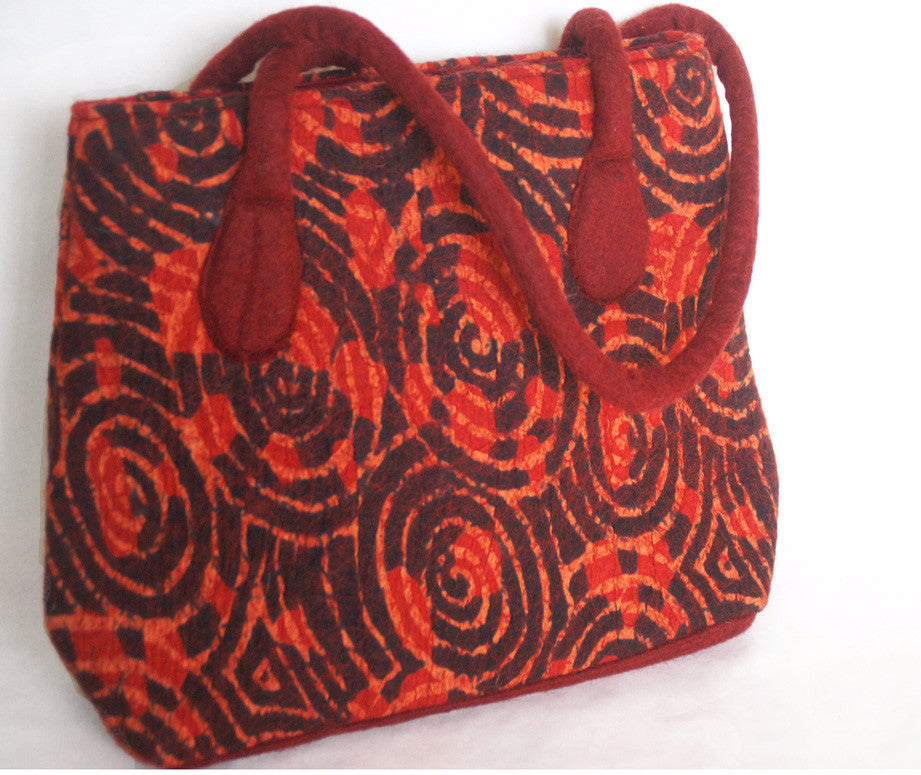 Felted Wool/Cotton Pop Art Shoulder Bag - Red Swirls One-of-a-Kind
