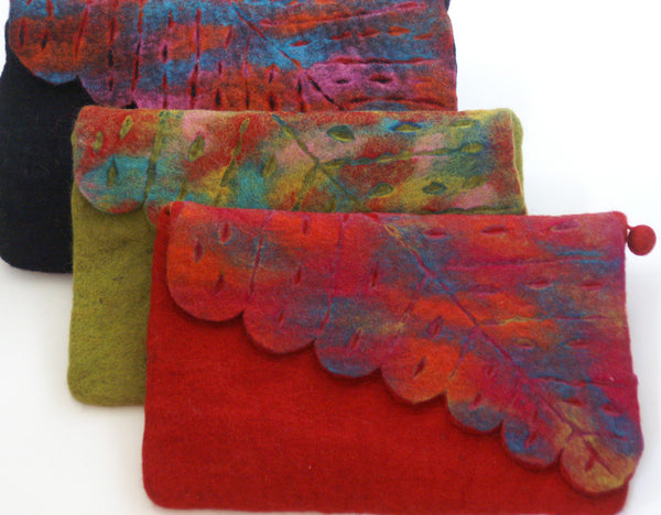Nuno Felted Wool Leaf Clutch Bag One-Of-A-Kind Handmade -   - 1