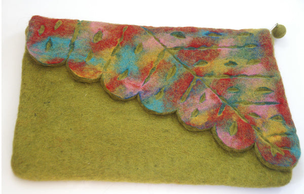 Chartreuse Felted Sari Collage Wool-Silk Scarf - One-of-a-Kind -   - 3
