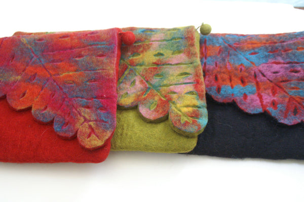 Nuno Felted Wool Leaf Clutch Bag One-Of-A-Kind Handmade -   - 7