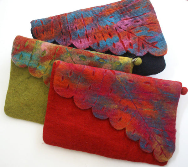 Nuno Felted Wool Leaf Clutch Bag One-Of-A-Kind Handmade -   - 3