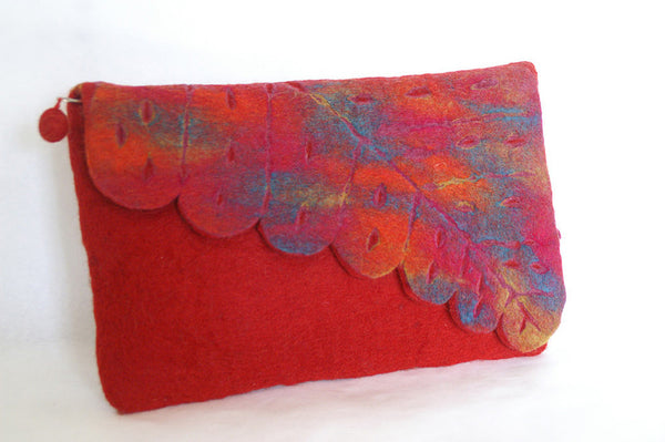 Nuno Felted Wool Leaf Clutch Bag One-Of-A-Kind Handmade -   - 5