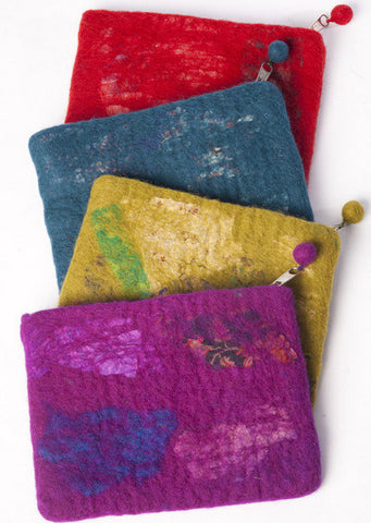 Nuno Felted Wool Sari Collage Coin Purse One-Of-A-Kind Handmade -   - 1