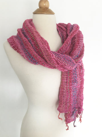 Handwoven Open Weave Cotton Scarf - Multicolor Pink