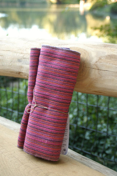 Raspberry Striped Upcycled Neckwarmer - One-of-a-Kind -   - 2