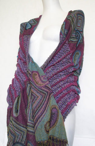 Woven Reversible Ruffled Scarf/Wrap - Jazzberry Blues