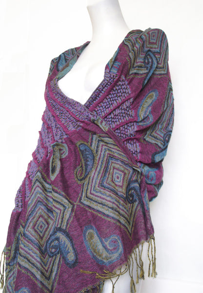 Woven Reversible Ruffled Scarf/Shawl - Jazzberry Blues