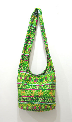 Thai Boho Sling Bag - Green Hieroglyph -   - 1