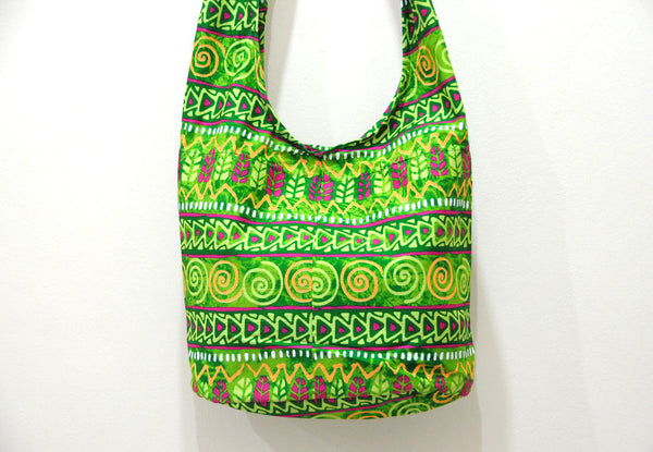 Thai Boho Sling Bag - Green Hieroglyph -   - 2