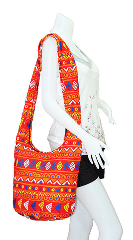 Thai Boho Sling Bag - Geometric Orange -