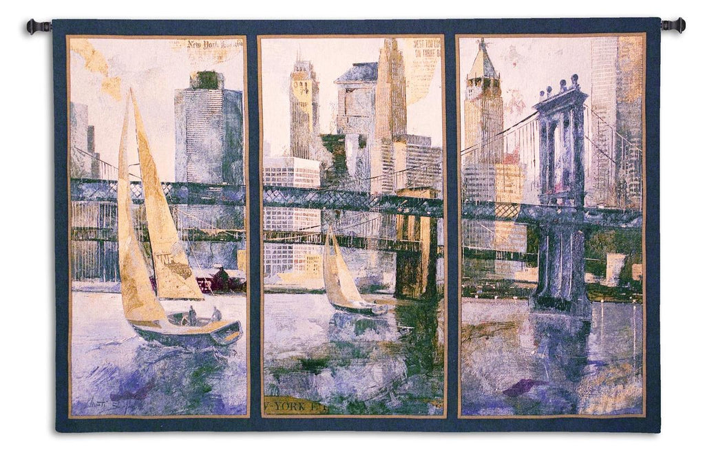 Sailing In The Afternoon Triptych Wall Tapestry - Cityscape