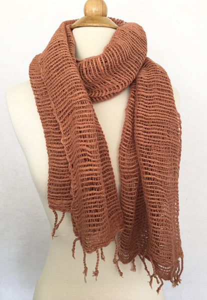 Handwoven Open Weave Cotton Scarf - Sandstone